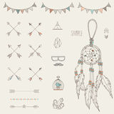 Hipster sketch style elements set for retro design. Stock Photo