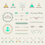 Hipster sketch style elements set for retro design. Royalty Free Stock Images