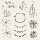 Hipster sketch style elements set for retro design. Royalty Free Stock Image