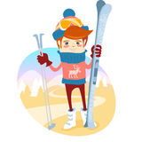 Hipster skier in front of slopes with his ski and ski pole. Flat Stock Photos