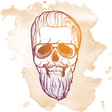 Hipster skull in beard and mustache. Hipster style human skull with a trendy undercut haircut wearing glasses mustache and beard. Hand drawn sketch on a stock images