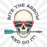 Hipster skull with geek sunglasses and arrow.  Royalty Free Stock Images