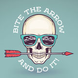 Hipster skull with geek sunglasses and arrow.  Royalty Free Stock Photo