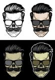 Hipster Skull with hair and mustache wearing sunglasses. Skull with hair and mustache wearing sunglasses, drawing skull with 4 style color Stock Image