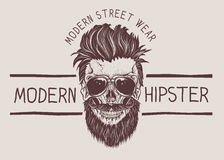 Hipster skull with hairstyle, mustache and beard. Vintage label.Prints design for t-shirts royalty free illustration