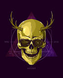 Hipster skull with horns Royalty Free Stock Photos