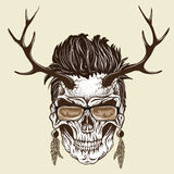 Hipster skull of human. With sunglasses and deer antlers.Vector illustration Royalty Free Stock Photos