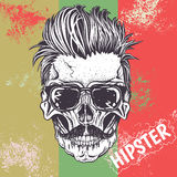 Hipster skull of human. With sunglasses.Vector illustration Stock Images