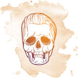 Hipster skull undercut. Hipster style human skull with a trendy undercut haircut and ironic grin. Hand drawn sketch on a watercolor spot. Halloween concept art Stock Photography
