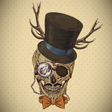 Hipster skull vintage background Stock Photo