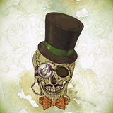 Hipster skull vintage background Royalty Free Stock Photos