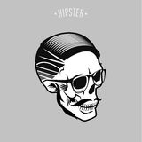Hipster skulls. Hipster skull symbol design with gray background Royalty Free Stock Photos