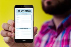 Hipster smartphone with job application form on the screen Royalty Free Stock Photography