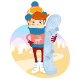 Hipster snowboarder in fron of slopes with his board. Flat style Stock Image