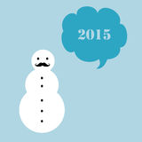 Hipster snowman. A simple New Year 2015 card with a moustached snowman Royalty Free Stock Photos