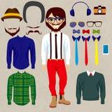 Hipster som ler den pappers- dockamannen vektor illustrationer