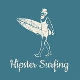 Hipster som surfar logo Arkivfoton