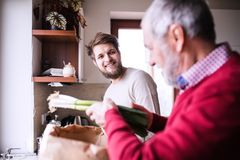 Hipster son with his senior father in the kitchen. Two generations indoors stock images