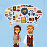 Hipster Speech Bubble. Hipster fashion concept with girl man and speech bubble with trendy icons vector illustration Royalty Free Stock Images