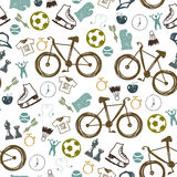 Hipster sport bicycle seamless pattern Stock Images