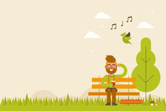 Hipster in Spring Background Stock Image