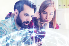 Hipster start up founders working, network Stock Images
