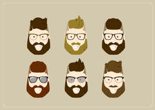 Hipster style bearded man, character set collection. Royalty Free Stock Images