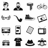 Hipster style black icons set Stock Images