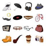 16 hipster style cartoon elements. On a white background. With bicycle, glasses, mustache Vector Illustration