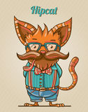 Hipster style cat. Illustration of cartoon hipster style cat Royalty Free Stock Image