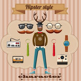 Hipster style character concept, cartoon style Royalty Free Stock Photos
