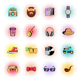 Hipster style comics icons set Royalty Free Stock Image
