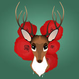 Hipster style deer and roses Stock Photo