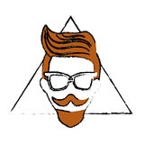 Hipster style design. Man face with mustache and glasses over triangular frame and white background. hispter style concept. colorful design. vector illustration stock illustration