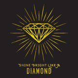 Hipster style of diamond shape on star light. Stock Photo