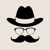 Hipster style element, glasses ,Hat and mustaches. Royalty Free Stock Image