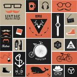 Hipster style elements and icons Royalty Free Stock Photos