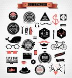 Hipster style elements, icons and labels Royalty Free Stock Images