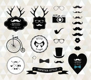 Hipster style elements, icons and labels Royalty Free Stock Photos