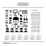 Hipster style elements and icons set. Vector hipster style elements and icons set Stock Images