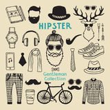 Hipster style elements set of male character. Hand drawn funky elements for your design project. Character hipster, and hair style drawing with beard Stock Image