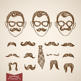 Hipster style faces mustache constructor engraving  retro Stock Photo