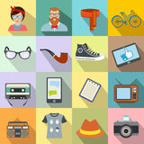 Hipster style flat icons set Royalty Free Stock Photos