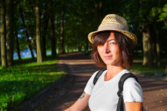 Hipster style girl in the park Stock Images