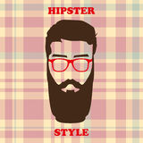 Hipster style. Hairstyle with a beard and glasses stock illustration