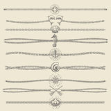 Hipster Style Hand Drawn Nautical Divider Set Stock Images
