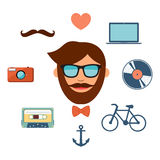 Hipster style icons set on white background. Hipster style color icons set on white background Royalty Free Stock Photography