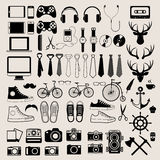 Hipster style infographics elements and icons set for retro desi Royalty Free Stock Photo