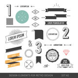 Hipster style infographics elements set for retro design. With r. Ibbons, labels, rays, numbers, arrows, borders, diamonds and anchors. Vector illustration Stock Images