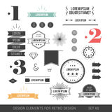 Hipster style infographics elements set for retro design. With r. Ibbons, labels, rays, numbers, arrows, borders, diamonds and anchors. Vector illustration Royalty Free Stock Image